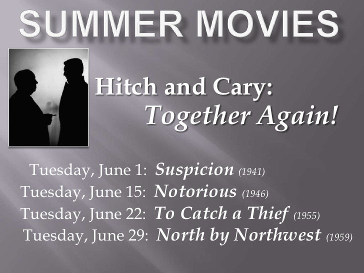 Summer Movies<br />Hitch and Cary:<br />Together Again!<br />Tuesday, June 1:  Suspicion(1941)<br />Tuesday, June 15:  Not...