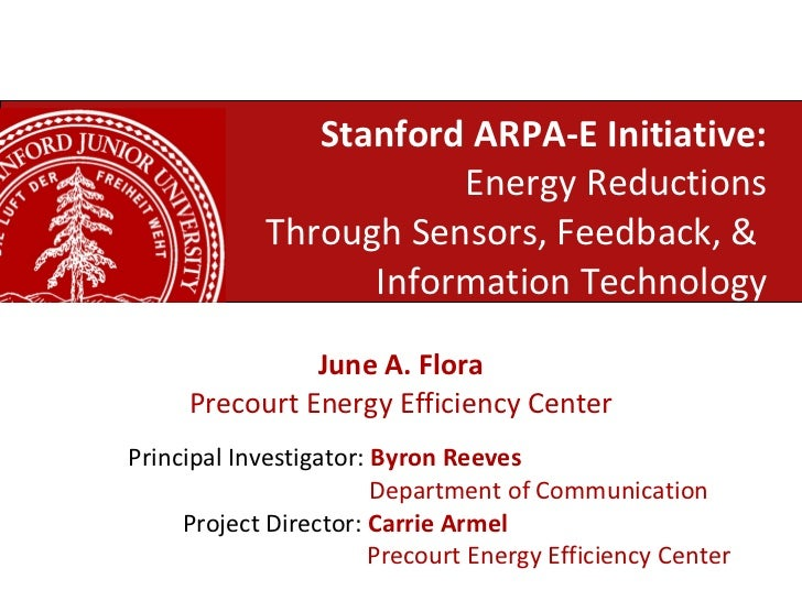 Stanford ARPA-E Initiative: Energy Reductions Through Sensors, Feedback, &  Information Technology June A. Flora Precourt ...