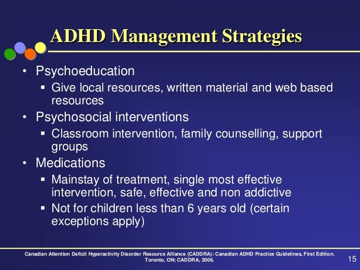Attention deficit hyperactivity disorder management