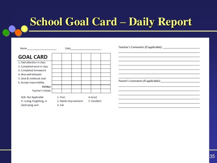 35 School Goal Card Daily Report