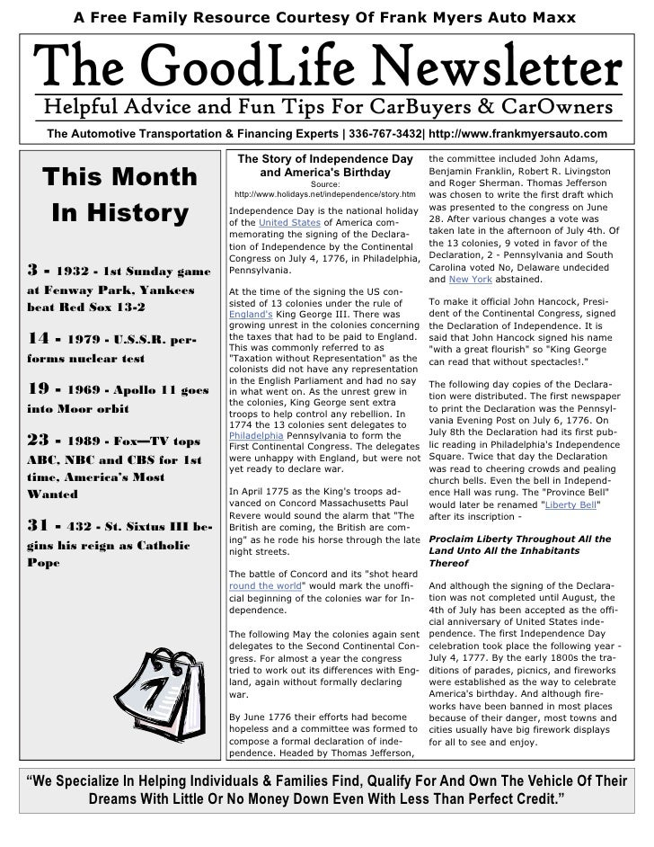 Frank Myers Auto Maxx Newsletter - July of 2010