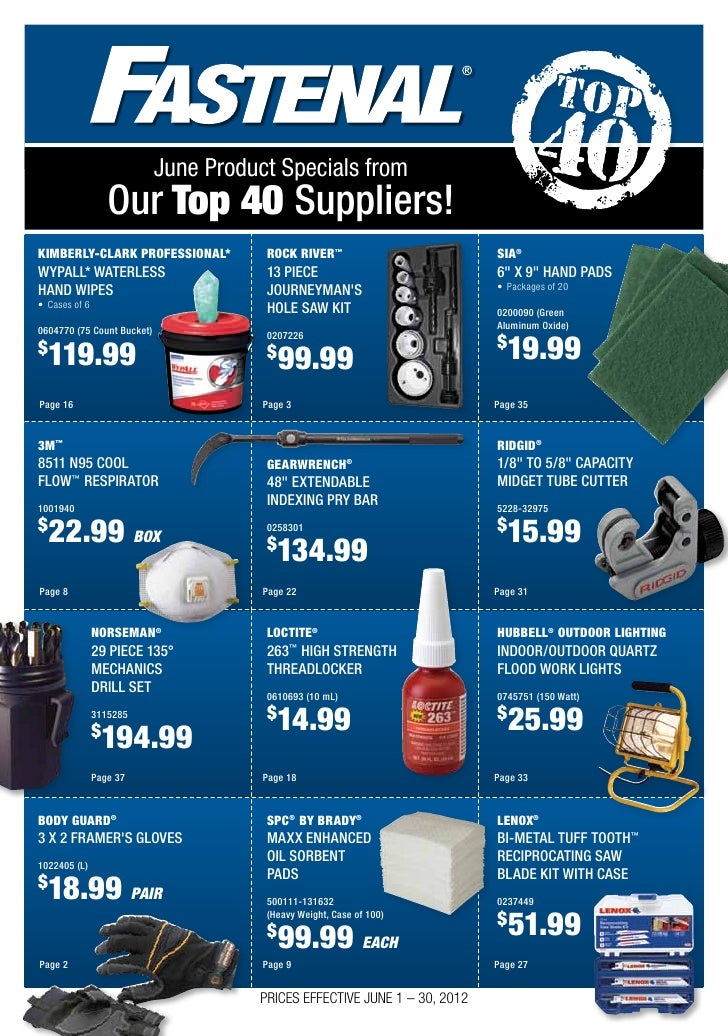 Our Top 10 Must Have Baby Items: Fastenal's Monthly Brochure Featuring Product Specials