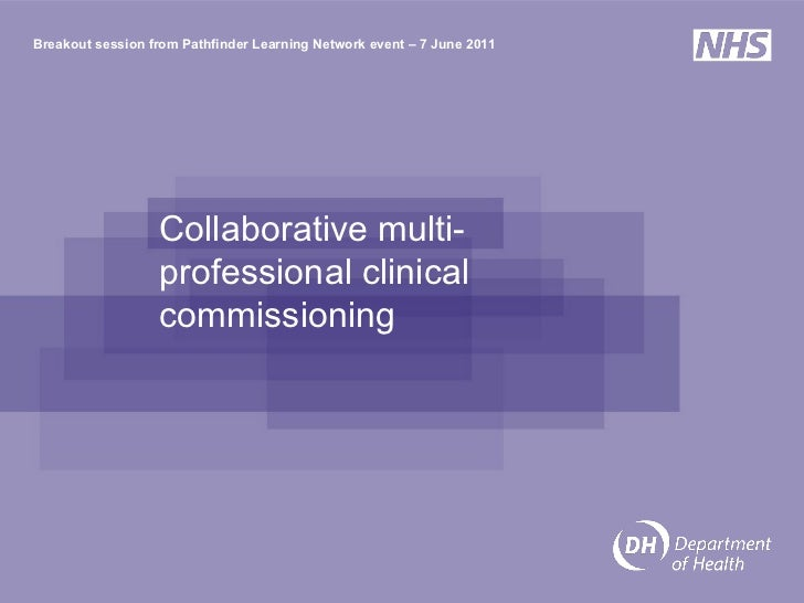 Collaborative multi-professional clinical commissioning  Breakout session from Pathfinder Learning Network event – 7 June ...
