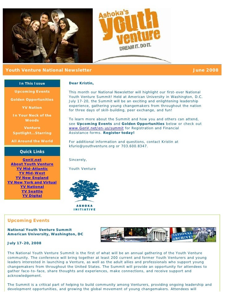 Youth Venture National Newsletter                                                                  June 2008        In Thi...