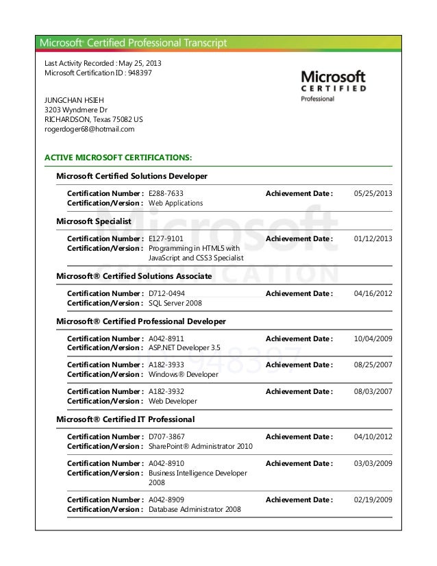 ID: 948397Last Activity Recorded : May 25, 2013Microsoft Certification ID : 948397JUNGCHAN HSIEH3203 Wyndmere DrRICHARDSON...