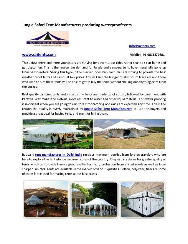 Jungle Safari Tent Manufacturers producing waterproof tents info@saitents.com .saitents.  sc 1 st  SlideShare & Jungle safari tent manufacturers producing waterproof tents