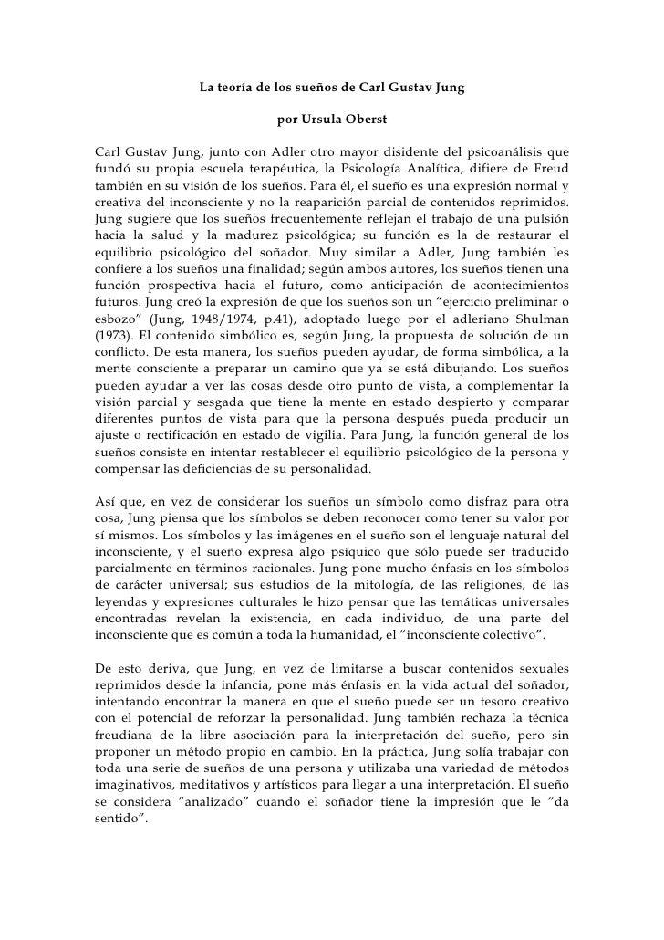 La teoría de los sueños de Carl Gustav Jung                                 por Ursula Oberst  Carl Gustav Jung, junto con...