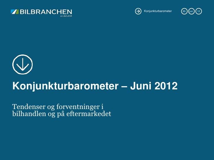 Konjunkturbarometer   30.   jun.   12Konjunkturbarometer – Juni 2012Tendenser og forventninger ibilhandlen og på eftermark...
