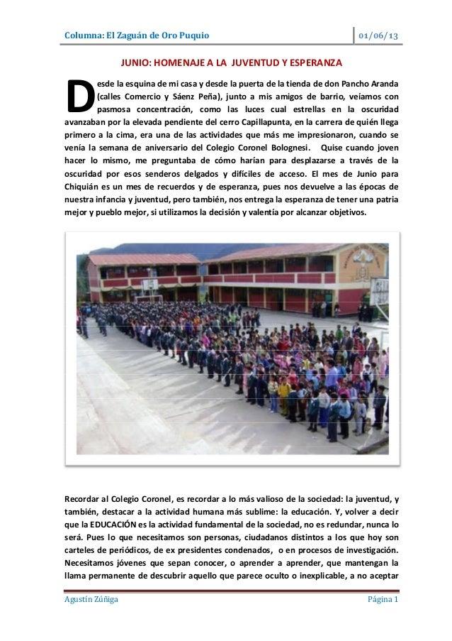 Columna: El Zaguán de Oro Puquio / /Agustín Zúñiga Página 1JUNIO: HOMENAJE A LA JUVENTUD Y ESPERANZAesde la esquina de mi ...