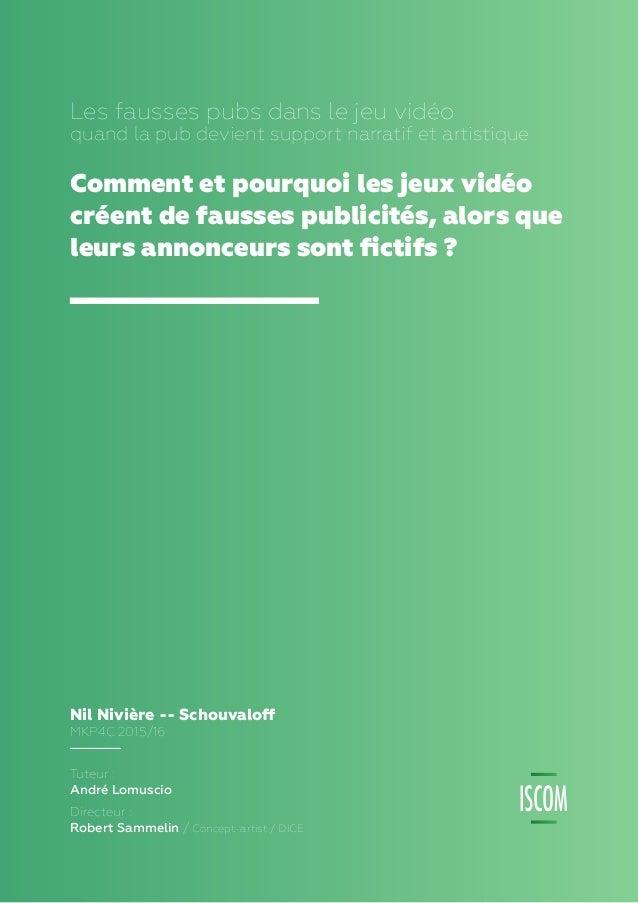 1 Nil Nivière -- Schouvaloff MKP4C 2015/16 Tuteur : André Lomuscio - Directeur : Robert Sammelin, Concept-artist, DICE LES...