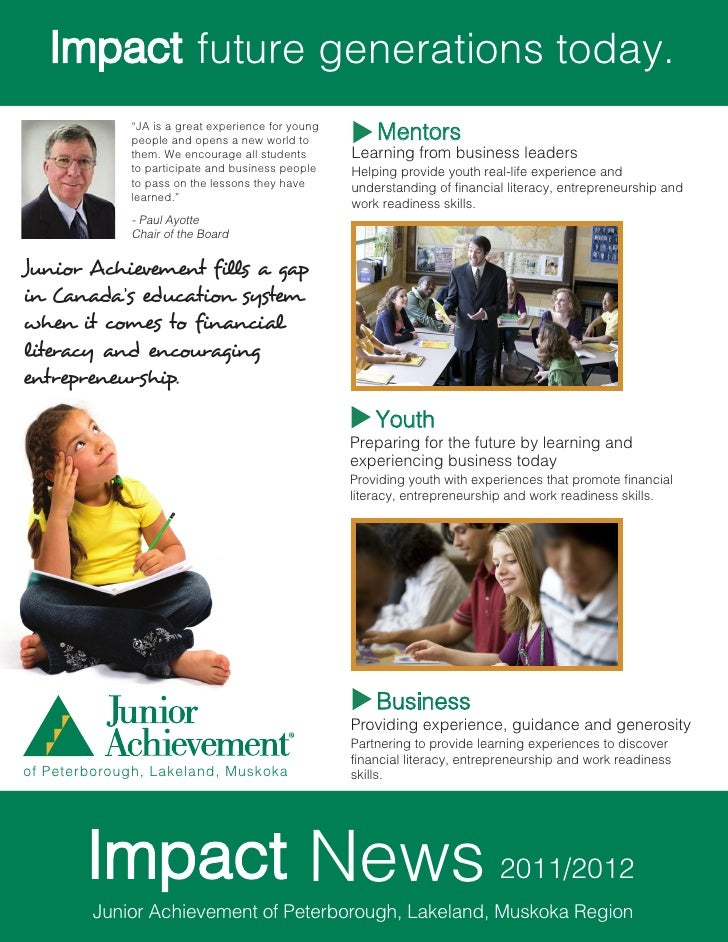"future generations today.             ""JA is a great experience for young             people and opens a new world to     ..."
