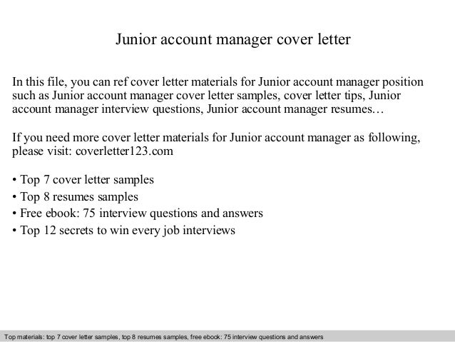 Junior Account Manager Cover Letter In This File, You Can Ref Cover Letter  Materials For ...