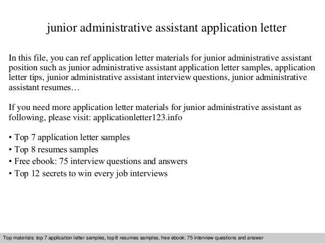 Junior Administrative Assistant Application Letter