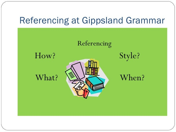 Referencing at Gippsland Grammar <ul><li>Referencing </li></ul><ul><li>How?  Style? </li></ul><ul><li>What?   When? </li><...