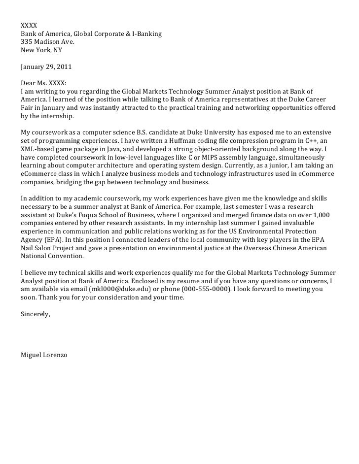 Junior Cover Letter: Computer Science. XXXX Bank Of America, Global  Corporate U0026 I U2010Banking ...