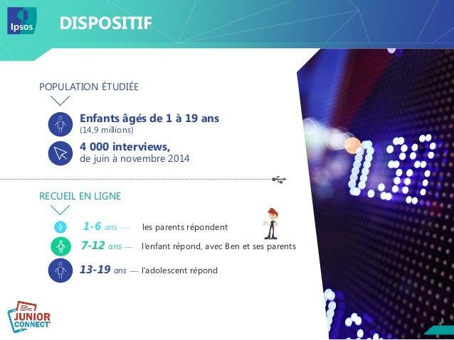 33 DISPOSITIF POPULATION ÉTUDIÉE Enfants âgés de 1 à 19 ans (14,9 millions) 4 000 interviews, de juin à novembre 2014 RECU...