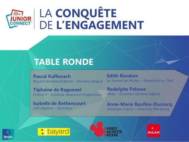 LA CONQUÊTE DE L'ENGAGEMENT TABLE RONDE Pascal Ruffenach Bayard Jeunesse/Enfance – Directeur délégué Tiphaine de Raguenel ...