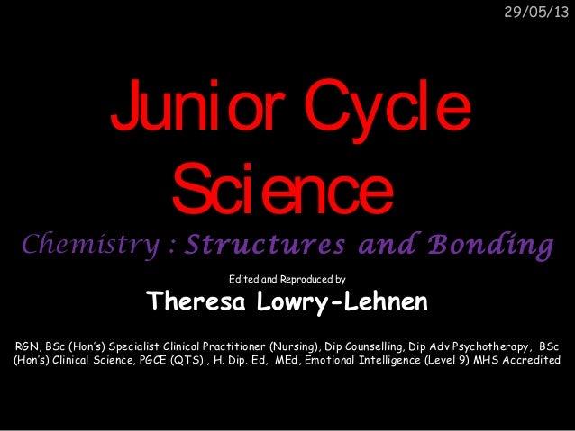 29/05/13Junior CycleJunior CycleScienceScienceChemistry :Chemistry : Structures and BondingStructures and BondingEdited an...