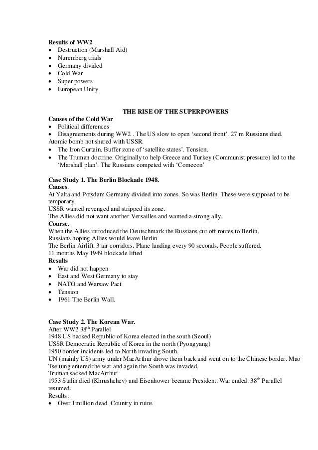 Third Year Junior Cert History Notes