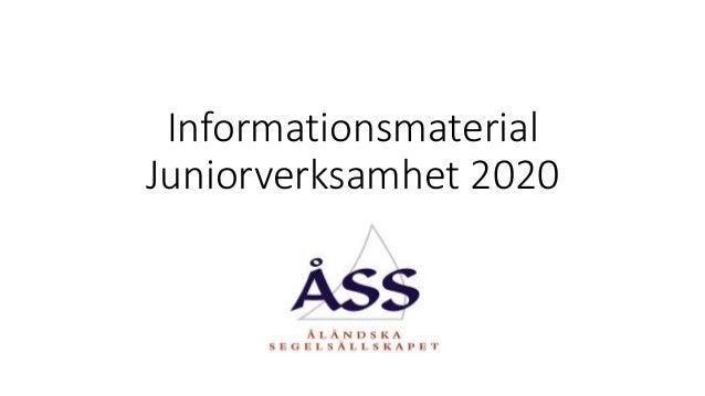 Informationsmaterial Juniorverksamhet 2020