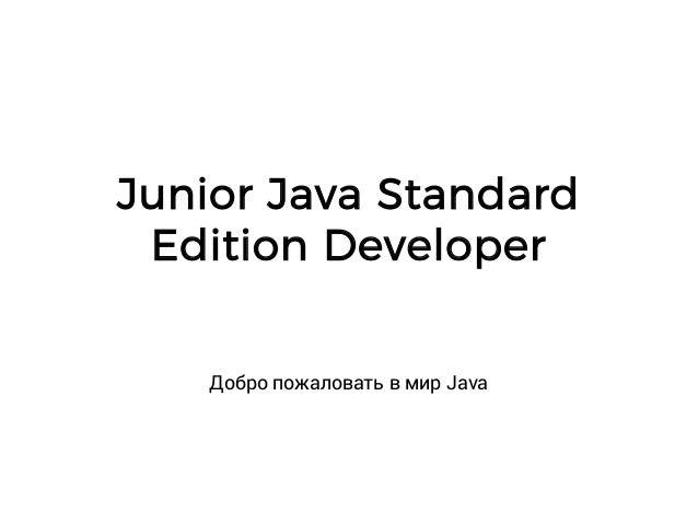 Junior Java Standard Edition Developer Добро пожаловать в мир Java