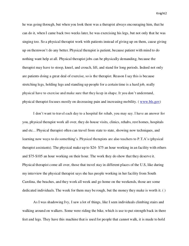 Essay on physical therapy
