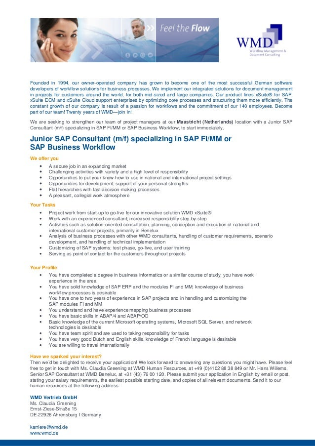 Wmd Benelux Is Looking For Junior Sap Consultant M F