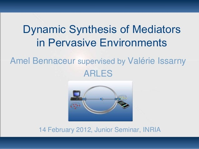 Dynamic Synthesis of Mediators in Pervasive Environments Amel Bennaceur supervised by Valérie Issarny ARLES 14 February 20...