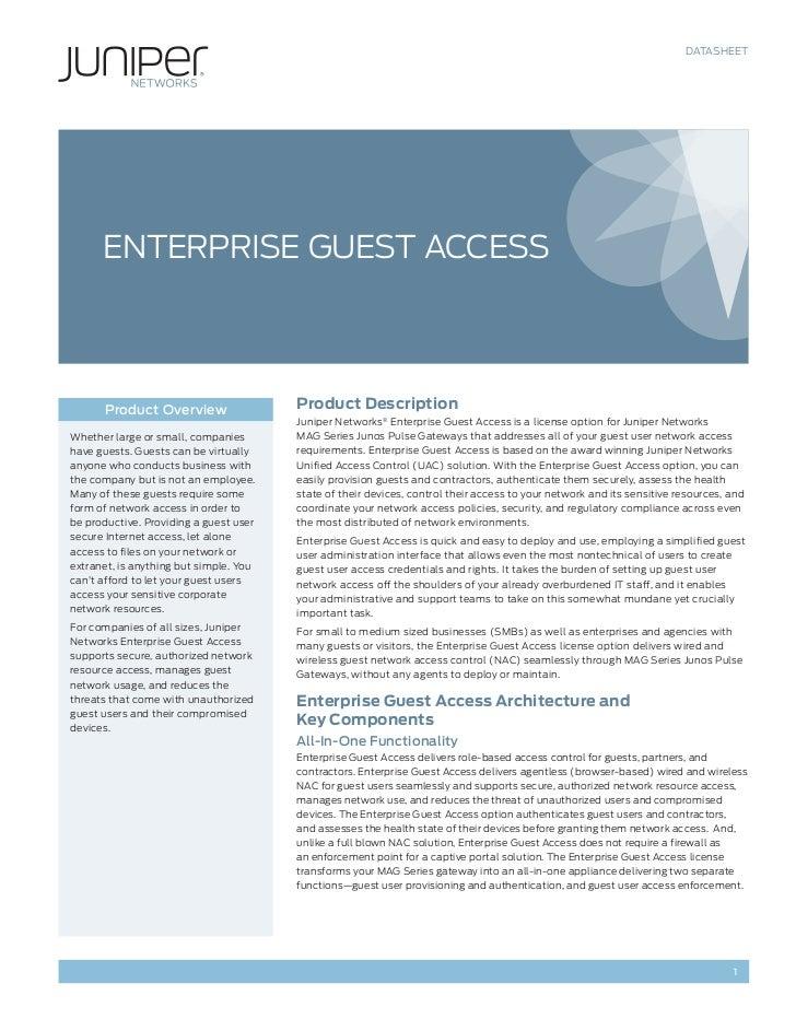 DATASHEET      ENTERPRISE GUEST ACCESS      Product Overview                  Product Description                         ...