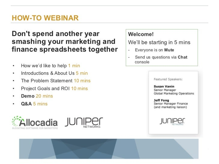 HOW-TO WEBINARDont spend another year                                                      Welcome!smashing your marketing...