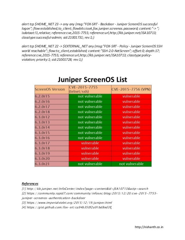 Juniper ScreenOS Vulnerabilities Explained