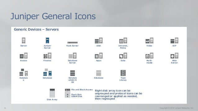 Generic Devices – Servers Juniper General Icons Server Juniper Server Rack Server AAA Intranet, Policy Video Access Financ...