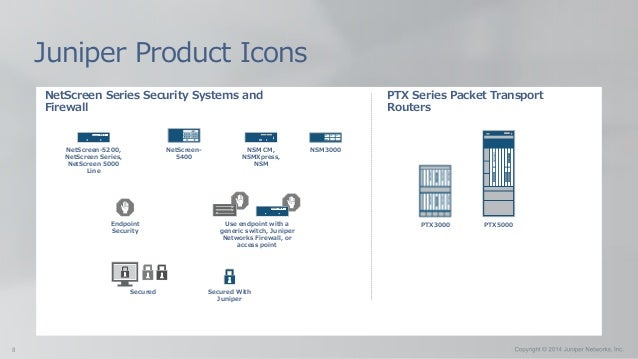 NetScreen Series Security Systems and Firewall Juniper Product Icons Endpoint Security Use endpoint with a generic switch,...