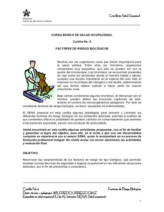 Curso Básico Salud Ocupacional Antioquia Centro de Servicios a la Salud CURSO BÁSICO DE SALUD OCUPACIONAL Cartilla No. 9 F...