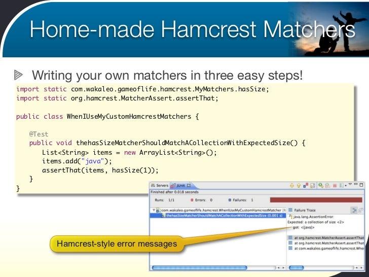 Cheap custom writing matchers hamcrest