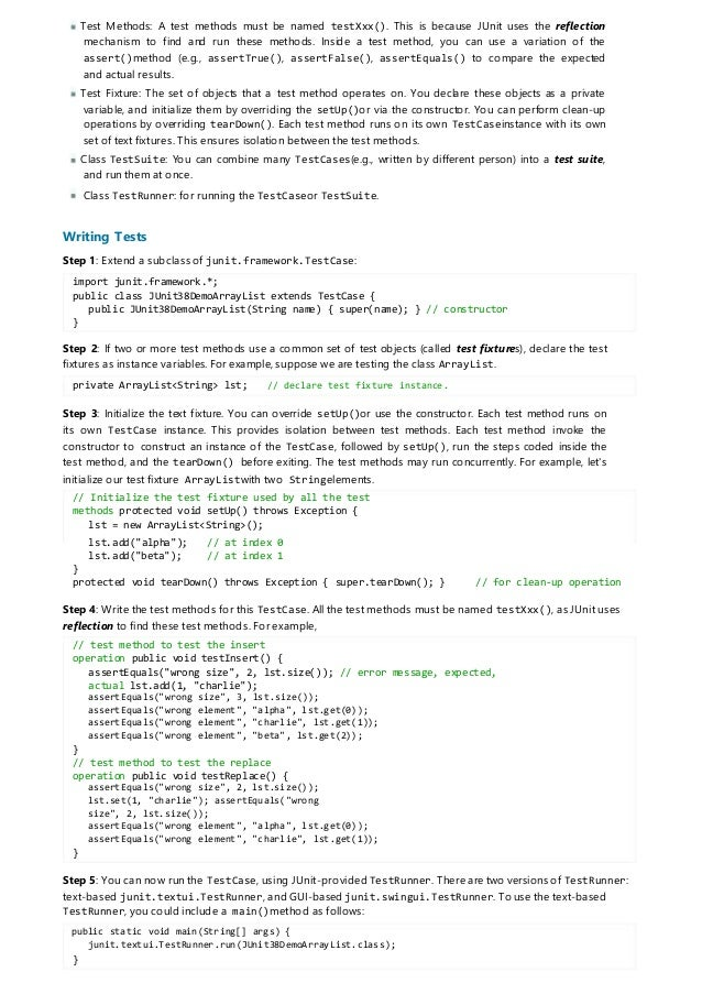Writing test case junit annotations