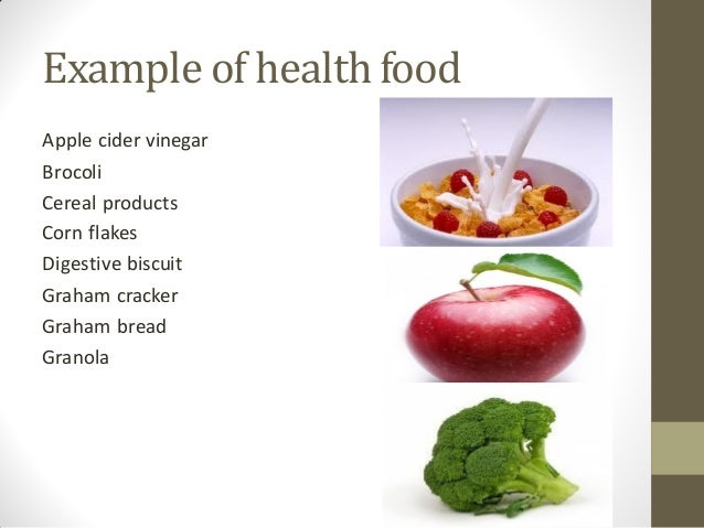 Junk food and healthy food for Cuisine examples