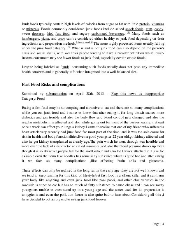 Fast Food Essay | Bartleby