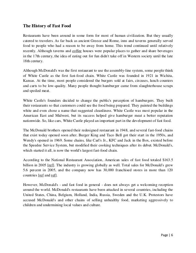 fast food 6 essay Fast-food sample essay in the past people used to eat healthy, freshly prepared food with their families in the home today however, many people prefer to eat fast food such as hamburgers.
