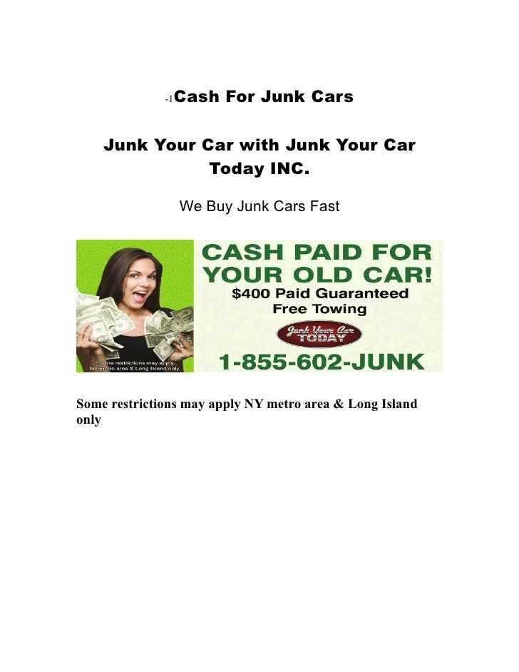 Junk Your Car Today: Cash For Junk Cars
