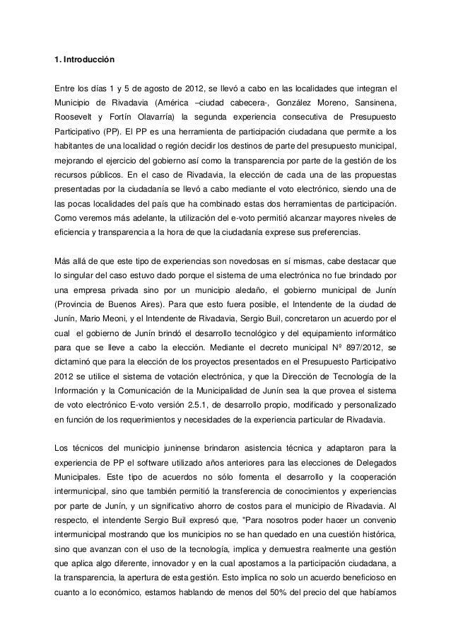 Junín y rivadavia, ciudades en red, la experiencia de pp con e voto de 2012 Slide 2