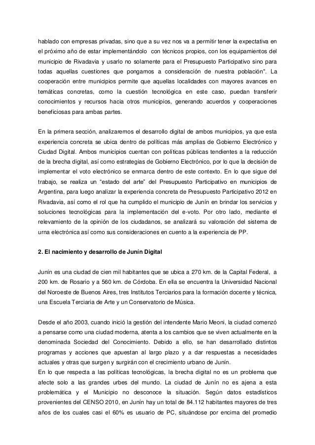 Junín y rivadavia, ciudades en red, la experiencia de pp con e voto de 2012 Slide 3