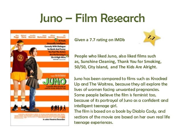 analysis of the movie juno Juno type movie current status in season mpaa pg-13 runtime 91 minutes limited release date 12/05/07 performer michael cera, ellen page, jennifer garner director.