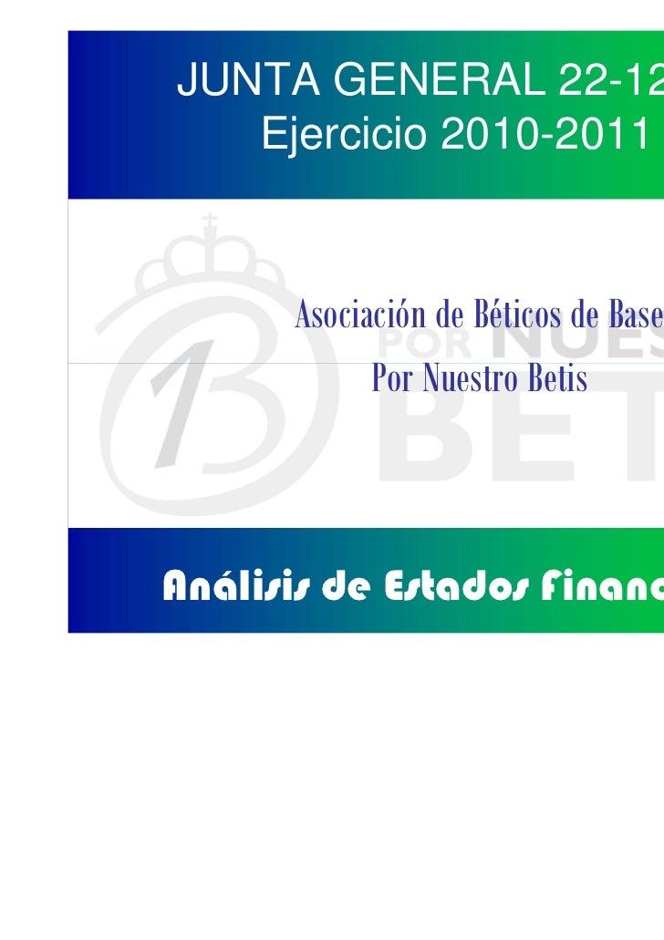JUNTA GENERAL 22-12-11   Ejercicio 2010-2011      Asociación de Béticos de Base            Por Nuestro BetisAnálisis de Es...