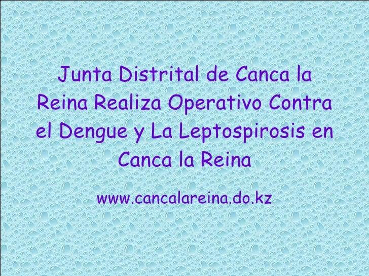Junta Distrital de Canca la Reina Realiza Operativo Contra el Dengue y La Leptospirosis en Canca la Reina www.cancalareina...