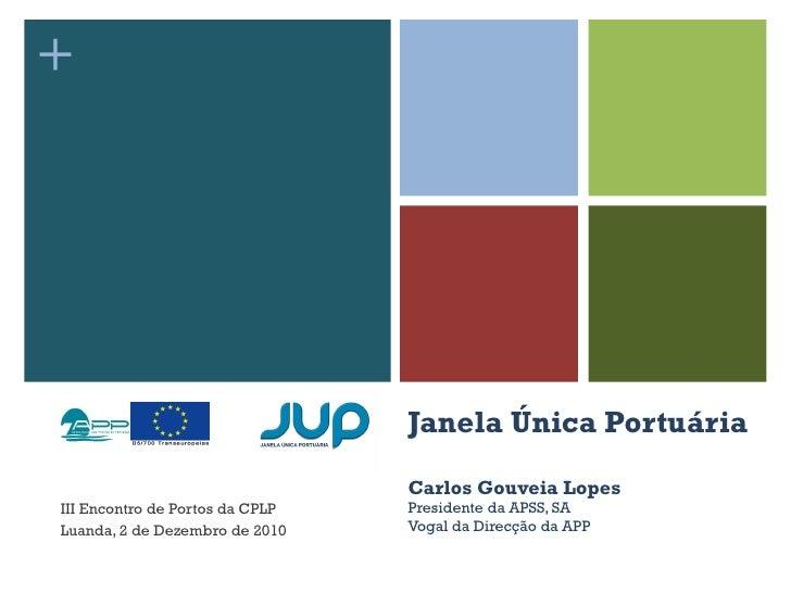 Janela Única Portuária Carlos Gouveia Lopes Presidente da APSS, SA Vogal da Direcção da APP III Encontro de Portos da CPLP...