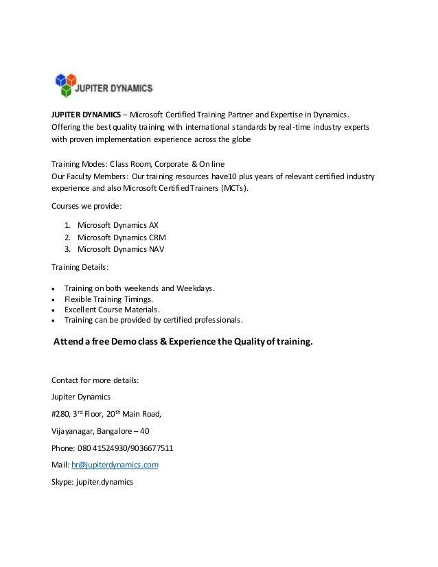 Microsoft Dynamics Course Training Jupiter Dynamics In Bangalore