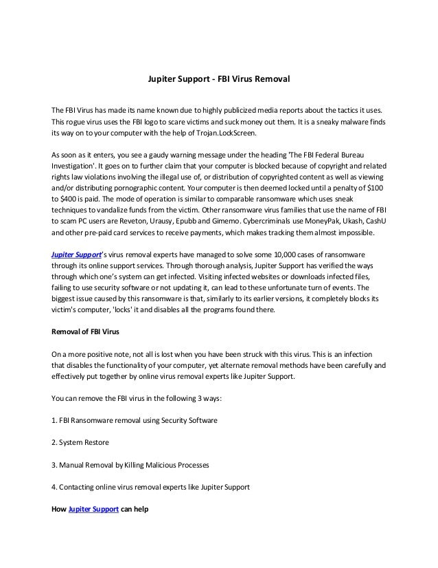 Jupiter Support - FBI Virus Removal