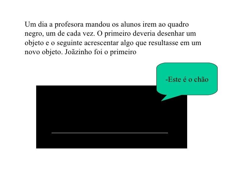 Um dia a profesora mandou os alunos irem ao quadro negro, um de cada vez. O primeiro deveria desenhar um objeto e o seguin...