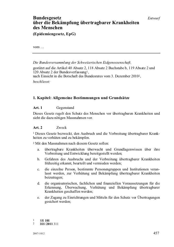 Bundesgesetz                                                                   Entwurfüber die Bekämpfung übertragbarer Kr...